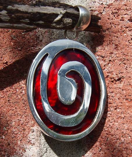 Dyed red paua shell pendant