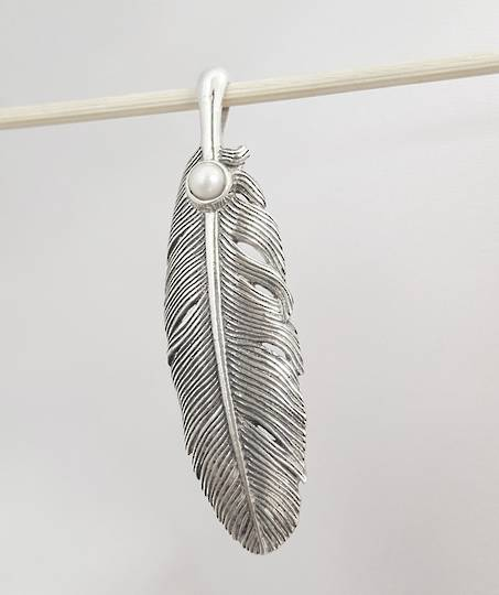 Solid sterling silver elongated feather pendant with pearl