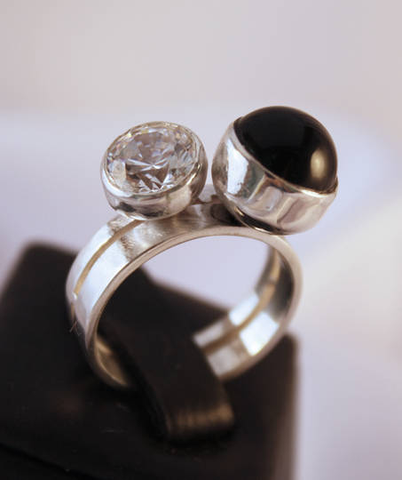 Onyx and Diamond | Silver ring made in NZ