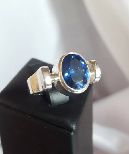 Sterling silver ring with deep blue stone