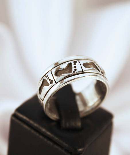 Sterling silver turning ring mans ring