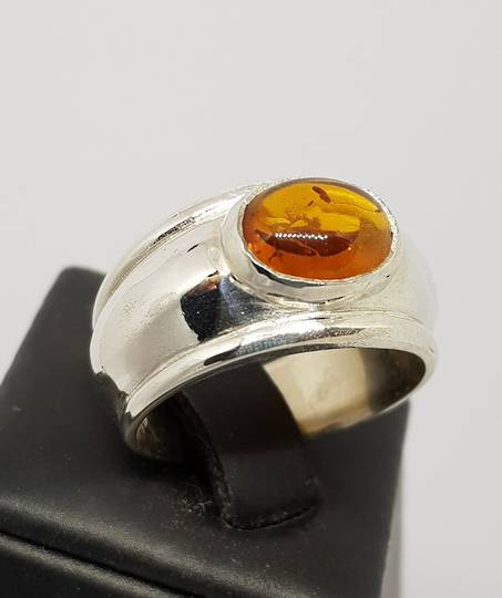 Sterling silver, wide band amber ring