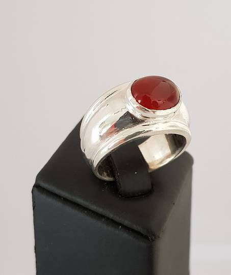 Sterling silver wide band ring with carnelian gemstone