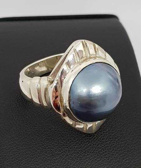 Large Silver Mabe Pearl Ring with detailed frame