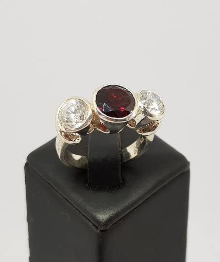 Silver ring with garnet  and cz gemstones - made in NZ