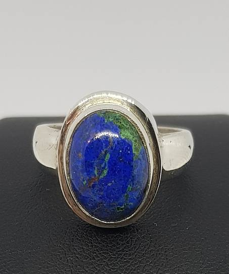 NZ made azurite with malachite silver ring