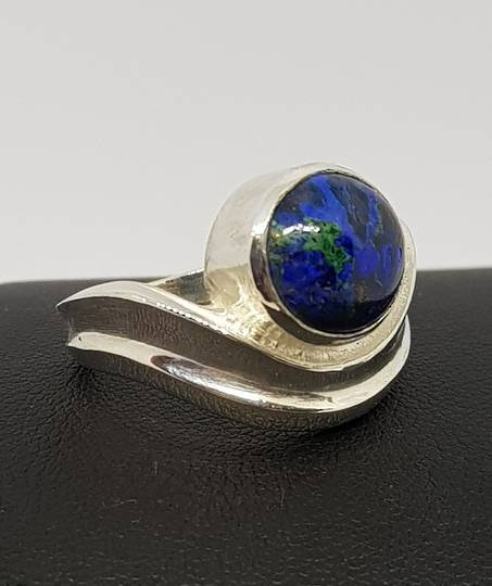 Azurite with malachite silver ring, Made in NZ