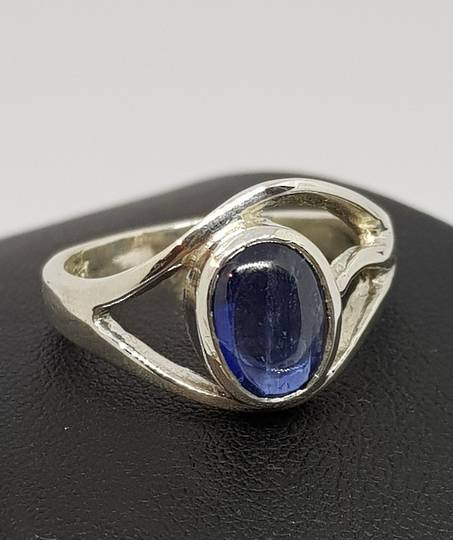 Sterling silver ring with natural cabochon sapphire
