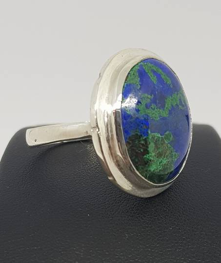 Large Azurite with Malachite silver ring | Made in NZ