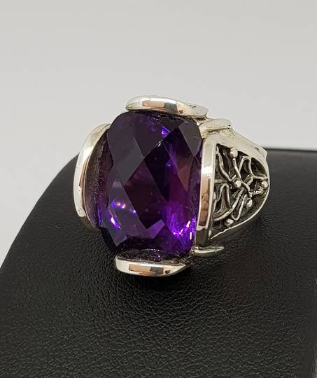 Large designer filigree purple ring