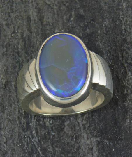 Australian opal ring, large oval, blue/green