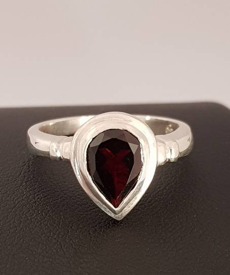 Silver ring with teardrop garnet gemstone - made in NZ