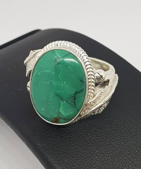 One off designer sterling silver turquoise ring