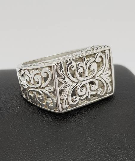 Sterling silver silver filigree lace ring