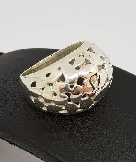 Sterling silver dome ring with cutout designs