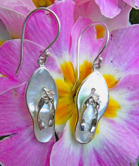 Mother of pearl jandal earrings