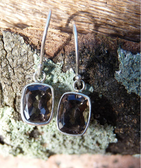 Smoky quartz silver earrings