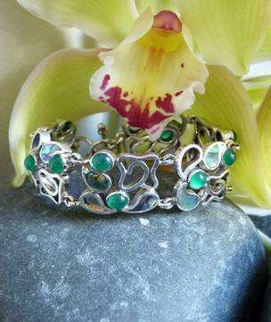 Silver bracelet with paua shell and jade