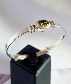 Happy Birthday Miss August, sterling silver birthstone baby bangle