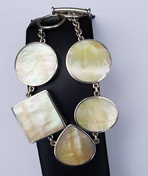 Sterling Silver Mother of Pearl Shell Bracelet