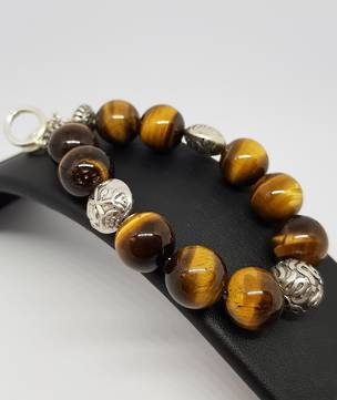 Tigers eye and Balinese silver beaded bracelet