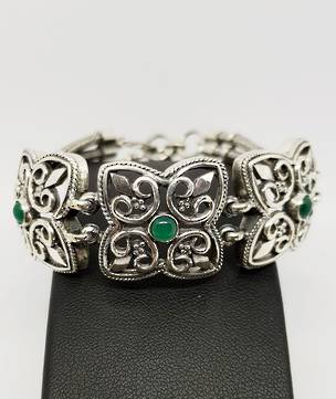 Sterling silver ladies bracelet with Asian Jade