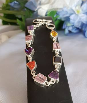 Multi coloured 925 silver gemstone bracelet