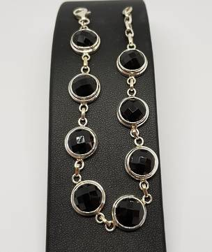 Facet cut black onyx sterling silver bracelet