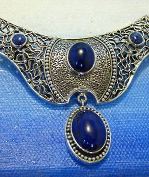 Lapis lazuli large silver pendant - can be worn as a brooch