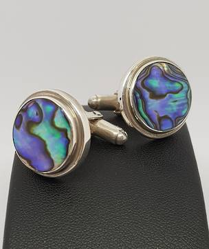 Sterling silver, NZ paua shell cufflinks