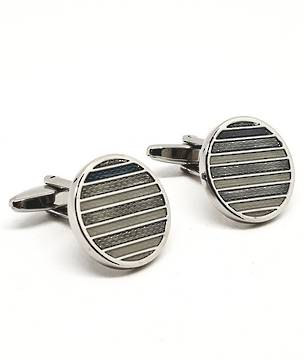 Silver on silver striped cufflinks