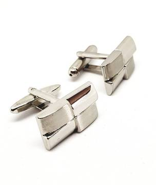 Brushed silver look rectangle cufflinks