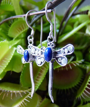 Sterling silver lapis lazuli dragonfly earrings