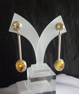 Two stone synthetic citrine long earrings