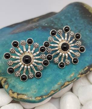 Spectacular large black onyx stud earrings