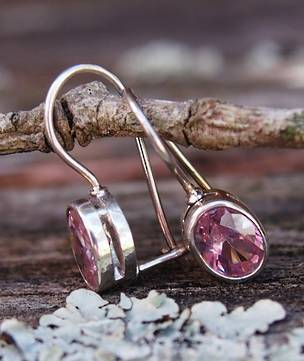 Pink gemstone earrings