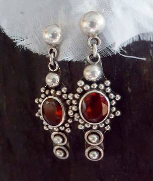 Sterling silver garnet earrings - last pair