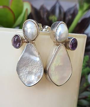 Mother of pearl earrings offset with amethyst - price reduced
