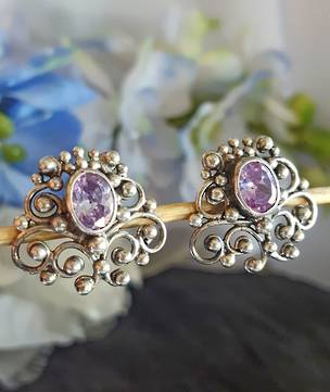 Sterling silver filigree amethyst stud earrings