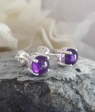 Cabochon amethyst stud earrings