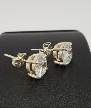 Silver cubic zirconia stud earrings