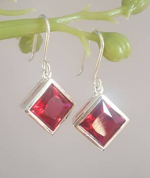 Sparkling red, princess cut synthetic ruby earrings