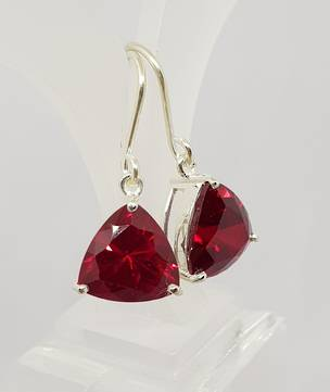 Sparkling red, synthetic ruby earrings
