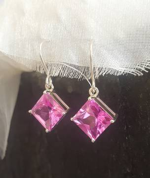 Princess pink sterling silver earrings