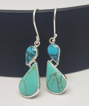Sterling silver turquoise gemstone earrings