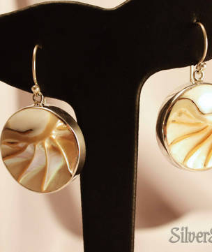 Round Nautilus Shell Silver Earrings