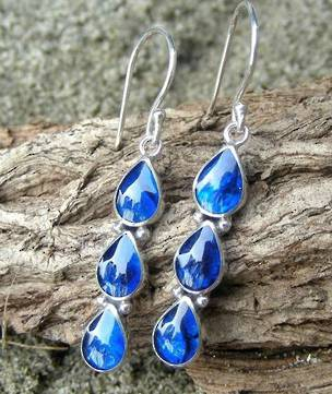 Dyed blue paua shell earrings - free delivery in NZ