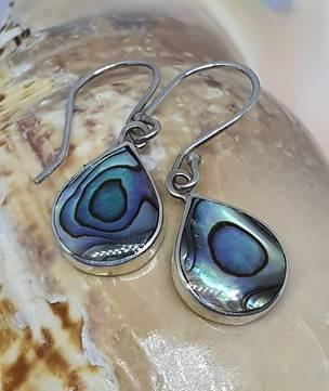 Sterling silver teardrop paua shell earrings