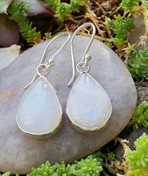Teardrop moonstone silver earrings, sterling silver