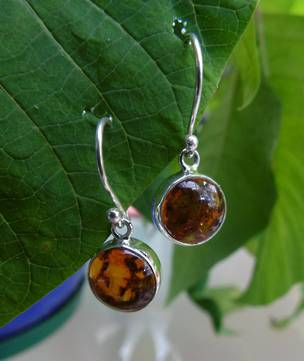 Silver Amber Earrings